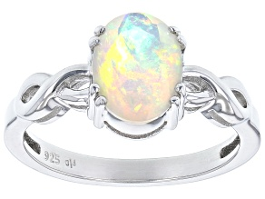 Multicolor Ethiopian Opal Solitaire Rhodium Over Sterling Silver Ring 0.93ct