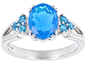 Paraiba Blue Color Opal Rhodium Over Sterling Silver Ring 1.22ctw