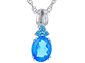 Paraiba Blue Opal Rhodium Over Sterling Silver Pendant With Chain 1.12ctw