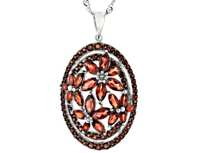 Red Garnet Rhodium Over Sterling Silver Pendant with Chain 4.58ctw