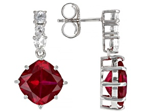 Red Lab Created Ruby Rhodium Over Sterling Silver Earrings 4.47ctw