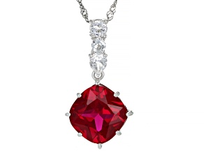 Red Lab Created Ruby Rhodium Over Sterling Silver Pendant With Chain 7.86ctw