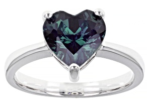 Blue Lab Created Alexandrite Rhodium Over Sterling Silver Ring 2.70ct