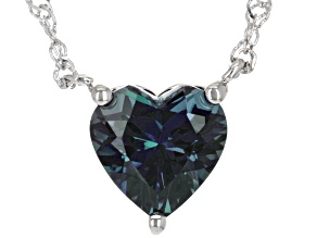 Blue Lab Created Alexandrite Rhodium Over Sterling Silver Necklace 2.70ct