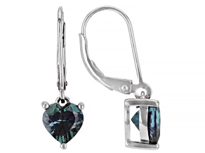 Blue Lab Created Alexandrite Rhodium Over Sterling Silver Dangle Earrings 2.72ctw