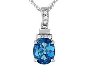 Blue Topaz Rhodium Over Sterling Silver Pendant With Chain 3.84ctw