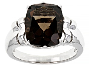 Brown Smoky Quartz Rhodium Over Sterling Silver Solitaire Ring 4.51ct