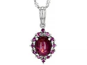 Oval Red Star Ruby With Rhodolite Garnet Sterling Silver Pendant With Singapore Chain 8x6mm