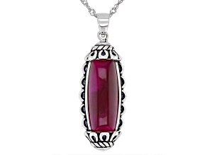 Pink Tiger's Eye Sterling Oxidized Silver Pendant With Chain 20x8mm