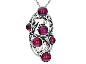 Pink Tiger's Eye Oxidized Sterling Silver Pendant With Chain 7mm