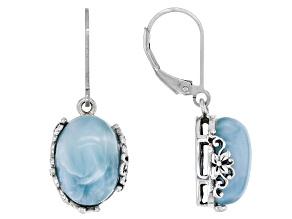 Blue Larimar Sterling Silver Dangle Earrings 14x10mm
