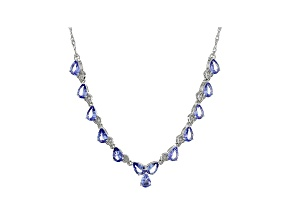 Blue Tanzanite Rhodium Over Sterling Silver Necklace 4.86ctw