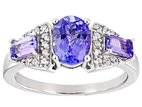 Blue Tanzanite Rhodium Over Sterling Silver Ring 2.00ctw