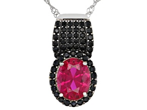 Red Lab Created Ruby Rhodium Over Sterling Silver Pendant With Chain 2.94ctw