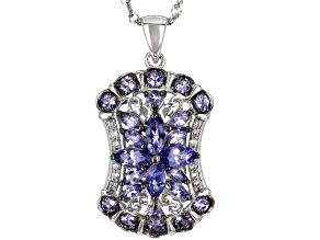 Blue Tanzanite Rhodium Over Sterling Silver Pendant With Chain 2.70ctw