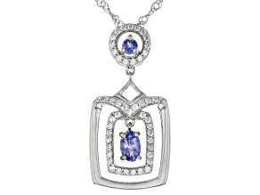 Blue Tanzanite Rhodium Over Sterling Silver Pendant With Chain 0.74ctw
