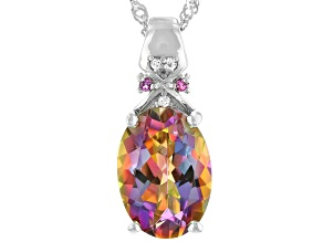 Multi Color Northern Lights (TM)Quartz Rhodium Over Sterling Silver Pendant With Chain 4.72ctw
