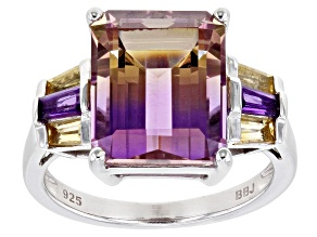 Bi Color Ametrine, Amethyst And Citrine Rhodium Over Sterling Silver Ring 5.14ctw