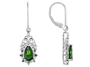 Green Chrome Diopside With Green Diamond Rhodium Over Sterling Silver Earrings 1.57ctw