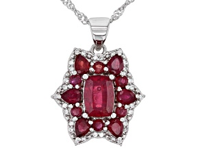 Red Mahaleo® Ruby Rhodium Over Sterling Silver Pendant With Chain 4.12ctw