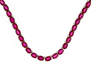 Red Lab Created Ruby Rhodium Over Sterling Silver Tennis Necklace 63.65ctw