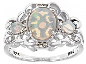 Oval Ethiopian Opal And Champagne Diamond Rhodium Over Sterling Silver Ring 9x7mm