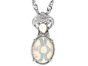 Ethiopian Opal And Champagne Diamond Rhodium Over Sterling Silver Pendant With Chain 9x7mm