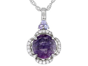 Purple Charoite Rhodium Over Silver Pendant Chain 0.24ctw
