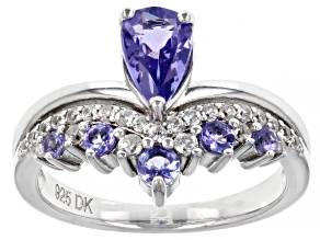 Blue Tanzanite Rhodium Over Sterling Silver Ring 1.25ctw