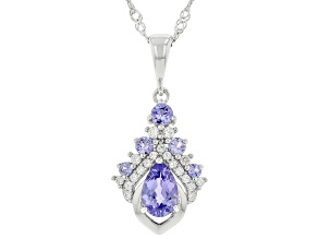 Blue Tanzanite Rhodium Over Sterling Silver Pendant With Chain 1.20ctw