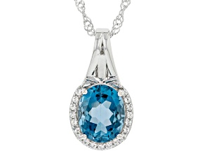 London Blue Topaz With White Topaz Rhodium Over Sterling Silver Pendant With Chain 2.85ctw