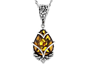 Yellow 18x13mm Pear Shaped Amber Rhodium Over Sterling Silver Pendant With Chain