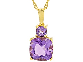 Purple Amethyst 18k Yellow Gold Over Sterling Silver Pendant With Chain 4.00ctw