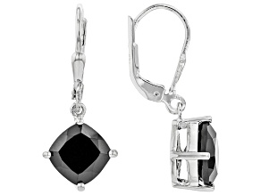 Black Spinel Rhodium Over Sterling Silver Solitaire Earrings 4.50ctw
