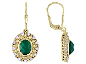 Green Onyx 18k Yellow Gold Over Sterling Silver Earrings 0.53ctw