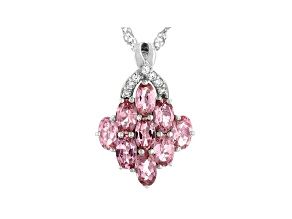 Pink Tourmaline Rhodium Over Sterling Silver Pendant With Singapore Chain 1.77ctw