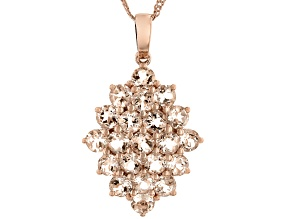 Peach Morganite 18K Rose Gold Over Sterling Silver Pendant With Chain 3.30ctw