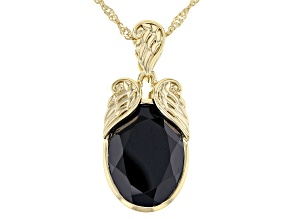 Oval Spinel 18K Yellow Gold Over Sterling Silver Angel Wings Pendant With Singapore Chain 10.20ct