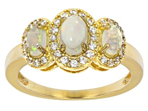 Ethiopian Opal And White Zircon 18K Yellow Gold Over Sterling Silver Ring 0.18ctw