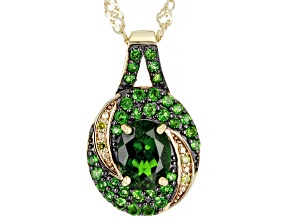 Green Chrome Diopside With Yellow Diamond 18K Yellow Gold Over Silver Pendant With Chain 1.45ctw