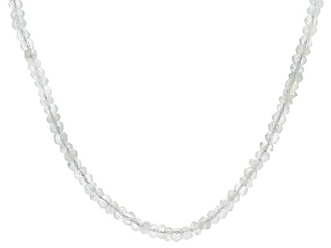 Womens Faceted Bead Necklace Rainbow Moonstone Sterling Silver