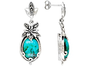 Oval Blue Turquoise Marcasite Solid Sterling Silver Post Earrings