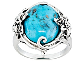 Blue Cabochon Turquoise With Marcasite Sterling Silver Ring