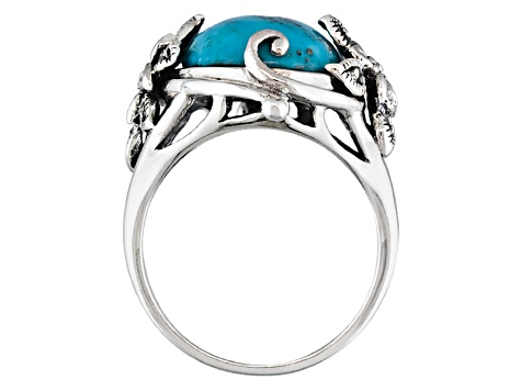 9.00ct Cabochon Turquoise With Marcasite .925 Sterling Silver Ring
