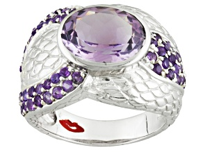 Purple Amethyst Sterling Silver Ring 3.64ctw