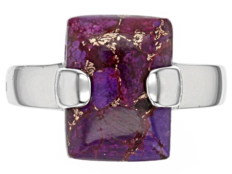 Purple turquoise rhodium over sterling silver ring