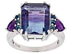 Bi-Color Fluorite Rhodium Over Sterling Silver Ring 7.07ctw