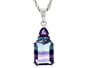 Bi-Color Fluorite Rhodium Over Sterling Silver Pendant with Chain 6.85ctw