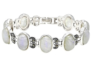 White Rainbow Moonstone Sterling Silver Bracelet