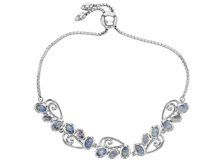 White rainbow moon rhodium over sterling silver adjustable bracelet